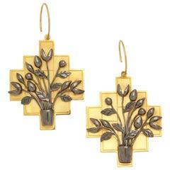 Gold Silver Tulip Bouquet Earrings