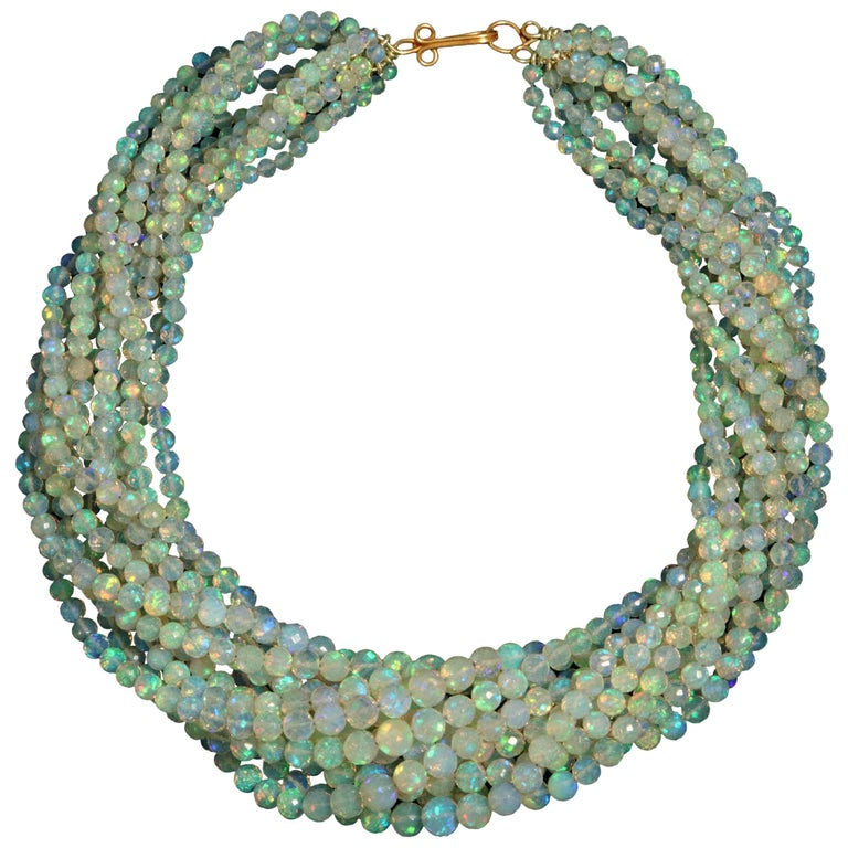 Opal Gold Necklace For Sale
