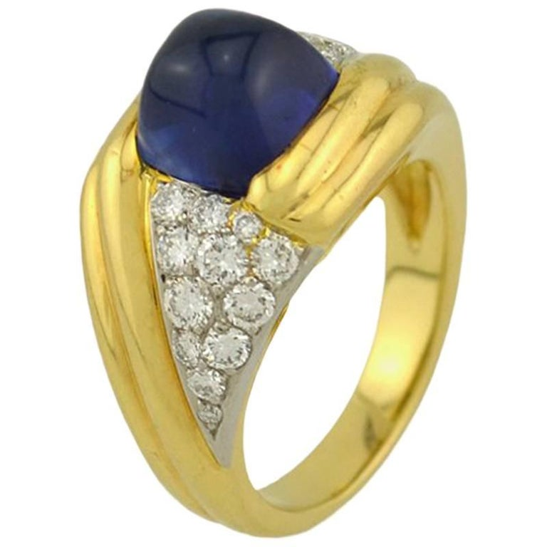 GIA Certified Natural 3 Carat Sapphire and Diamond Ring in Gold and Platinum