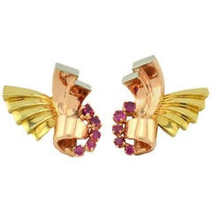 Retro Ruby and 14 Karat Pink, Yellow and White Gold Earrings