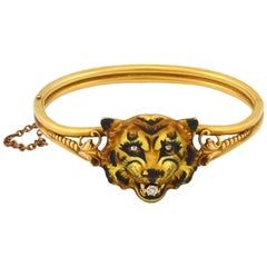 Tiger Bangle with Locket and Detailed Enamel