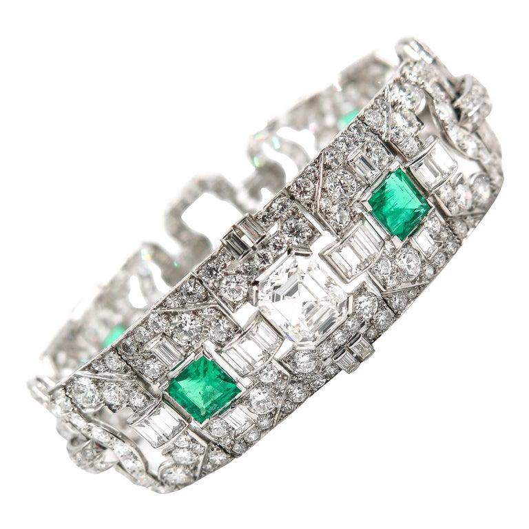 1920s Art Deco Emerald Diamond Platinum Bracelet