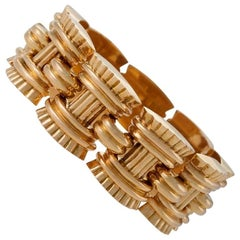 French Retro Gold Link Bracelet by Vallienne, Paris