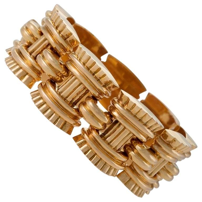 French Retro Gold Link Bracelet by Vallienne, Paris