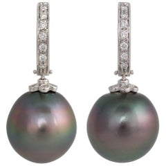 Ella Gafter Black Tahitian Pearl and Diamond White Gold Hoop Drop Earrings