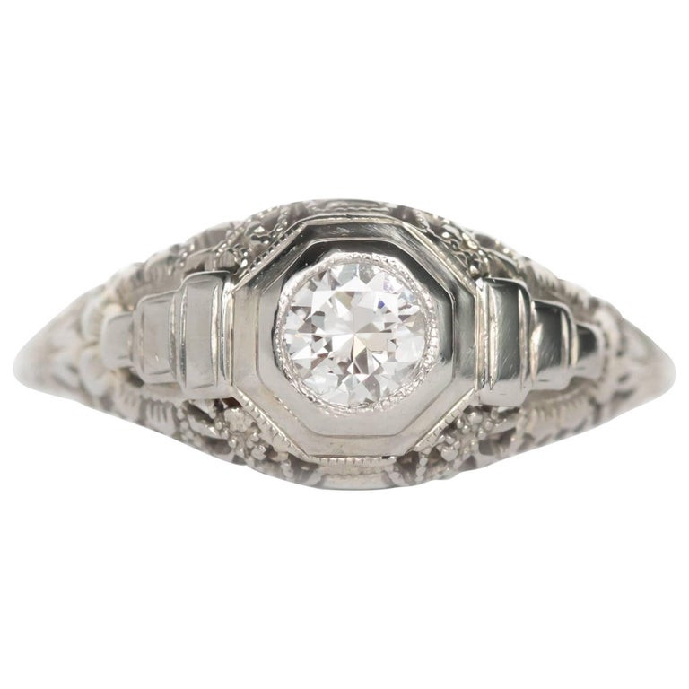 25 Carat Diamond White Gold En Ement Ring For Sale