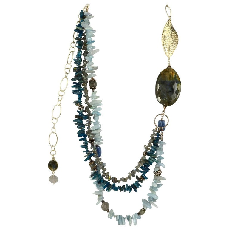 Decadent Jewels Adjustable Length Labradorite Aquamarine Apatite Silver Necklace