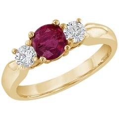 1.08 Carat Burmese Ruby Diamond Three-Stone Ring