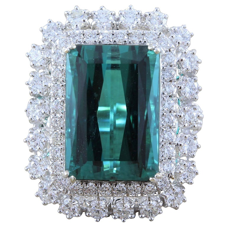 GIA Certified Gem Green Blue Tourmaline Diamond Gold Cocktail Ring