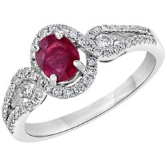 1.21 Carat Burmese Ruby Diamond Engagement Ring