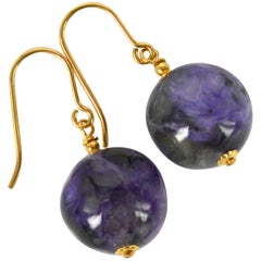 Decadent Jewels Charoite Gold Earrings
