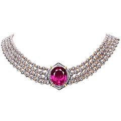 BOON Important 25 Carat Rubelite Baguette Diamond White Gold Yellow Necklace