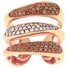 Gavello Rose Gold White Brown Diamond Triple Band Ring