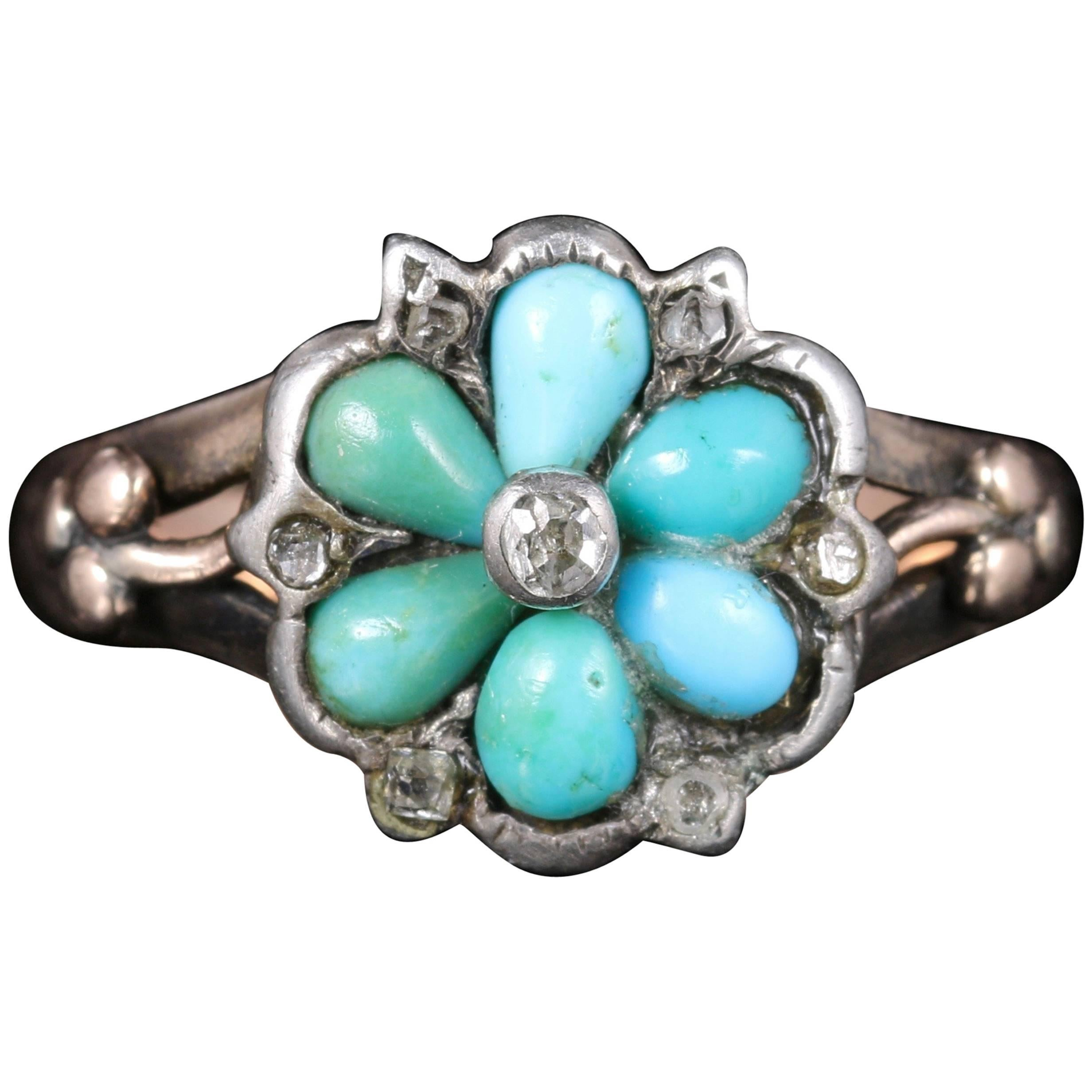 antique georgian turquoise diamond ring locket back circa 1
