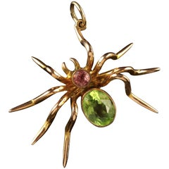 Antique Victorian Suffragette Gold Spider Brooch Pink Tourmaline