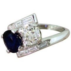Art Deco 1.33 Carat Old Cut Diamond and 1.40 Carat Sapphire Crossover Ring