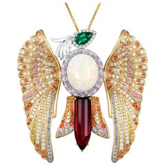 Sapphire Emerald Opal Rubelite White Diamond Gold Phoenix Pendant Necklace