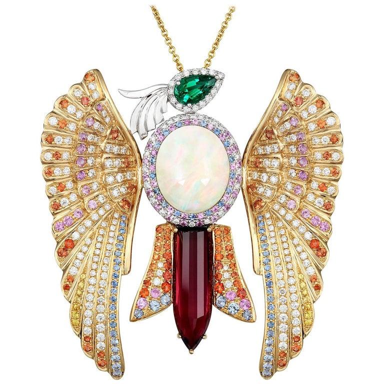 Sapphire Emerald Opal Rubelite White Diamond Gold Phoenix Pendant Necklace