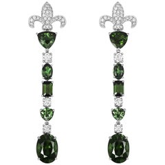 Tivon 18ct White Gold Green Tourmaline and diamond long dangly Earrings