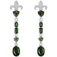 Tivon Fine Jewellery 'Rainforest' Green Tourmaline 18 Karat White Gold Earrings