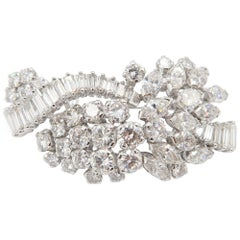 Important 9.3 Carat Baguette Marquise Round Brilliant Diamond Brooch