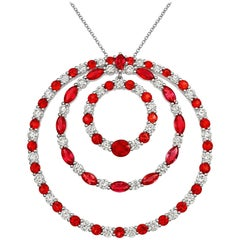 Tivon 18ct White Gold large concentric circle Ruby, Sapphire & Diamond Pendant