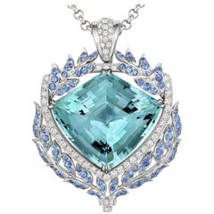 Tivon 18ct White Gold large Diamond Aquamarine & Blue Sapphire Gala Pendant
