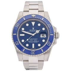 Rolex White Gold Submariner Smurf Automatic Wristwatch Ref 116619LB, 2016