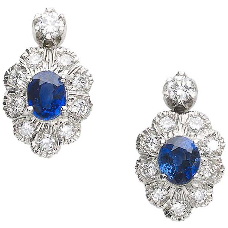 Sapphire and Diamond Cluster Drop Earrings
