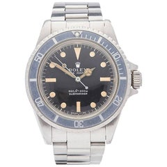 Rolex Stainless Steel Submariner Serif Dial Automatic Wristwatch Ref 5513, 1970