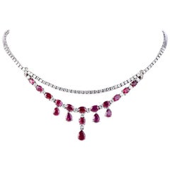Diamond Ruby Gold Choker Necklace