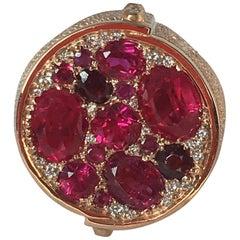 Ruby Rose Gold Diamonds Rings