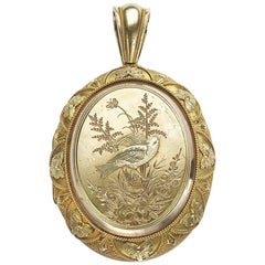 Victorian Gold Locket with Bird and Plants