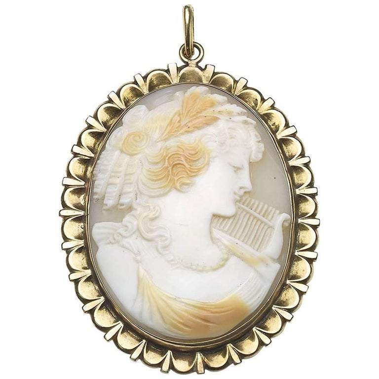 Terpsichore shell cameo pendant for sale at 1stdibs terpsichore shell cameo pendant for sale aloadofball Choice Image