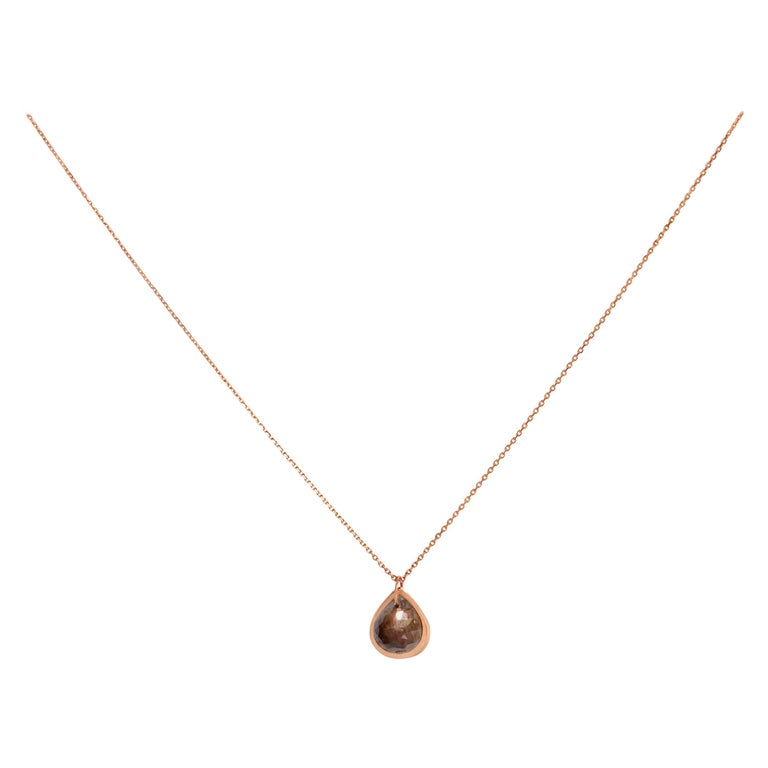 Allison Bryan Rose Gold Rough Diamond Necklace For Sale