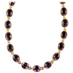 Antique Victorian Amethyst Paste Gold Necklace, circa 1880