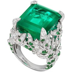 Tivon 18ct White Gold large Colombian Emerald & Diamond Cocktail Ring
