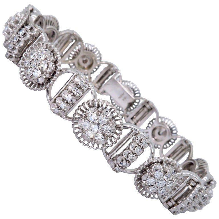 Jabel Diamond Tennis 18 Karat White Gold Bracelet At 1stdibs