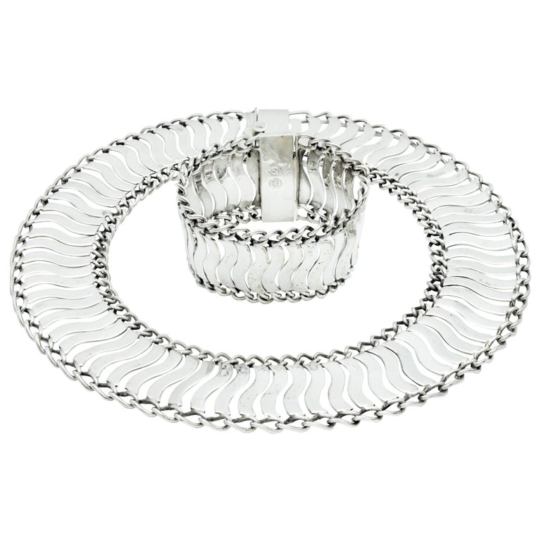 William Spratling Mexican Silver Linked Wave Necklace and Bracelet