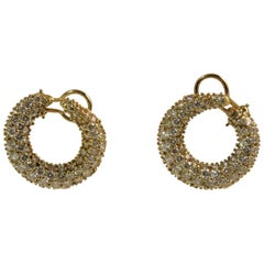 18 Karat Yellow Gold Pave Set Diamond Hoop Earrings