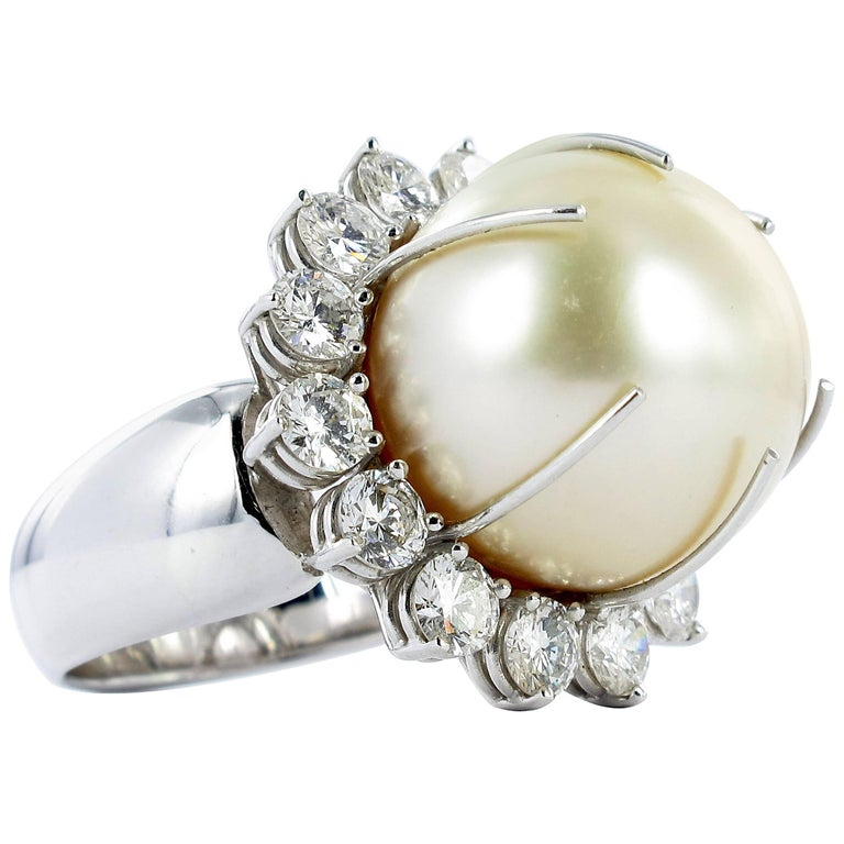 Gübelin South Sea Cultured Pearl and Diamond Cocktail Ring