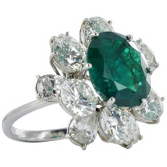 Certified Colombian Emerald Diamond Platinum Ring