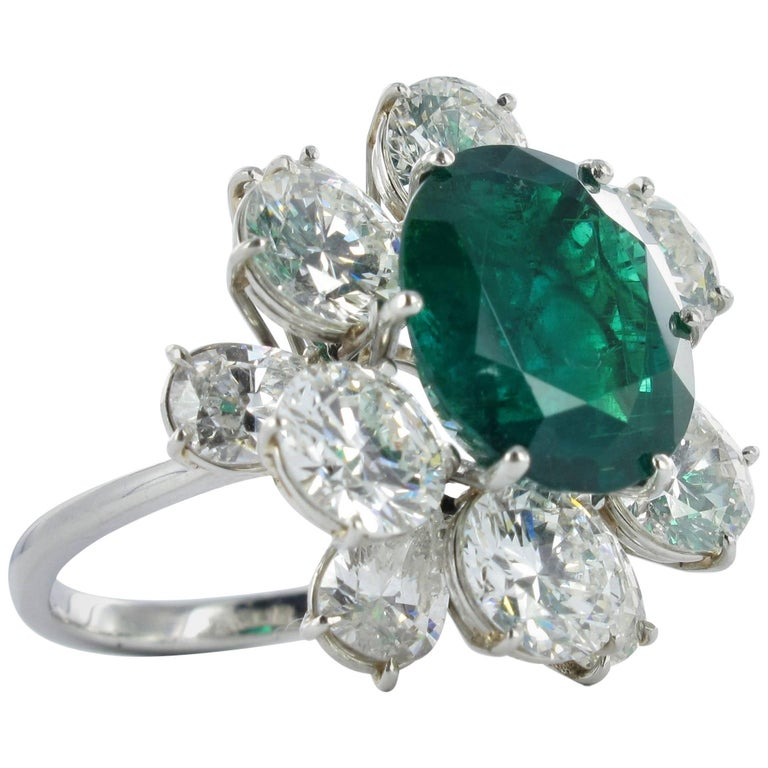 Certified Colombian Emerald Diamond Platinum Ring For Sale