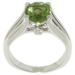 3.01 Carat Peridot Diamond Sterling Silver Rhodium Ring