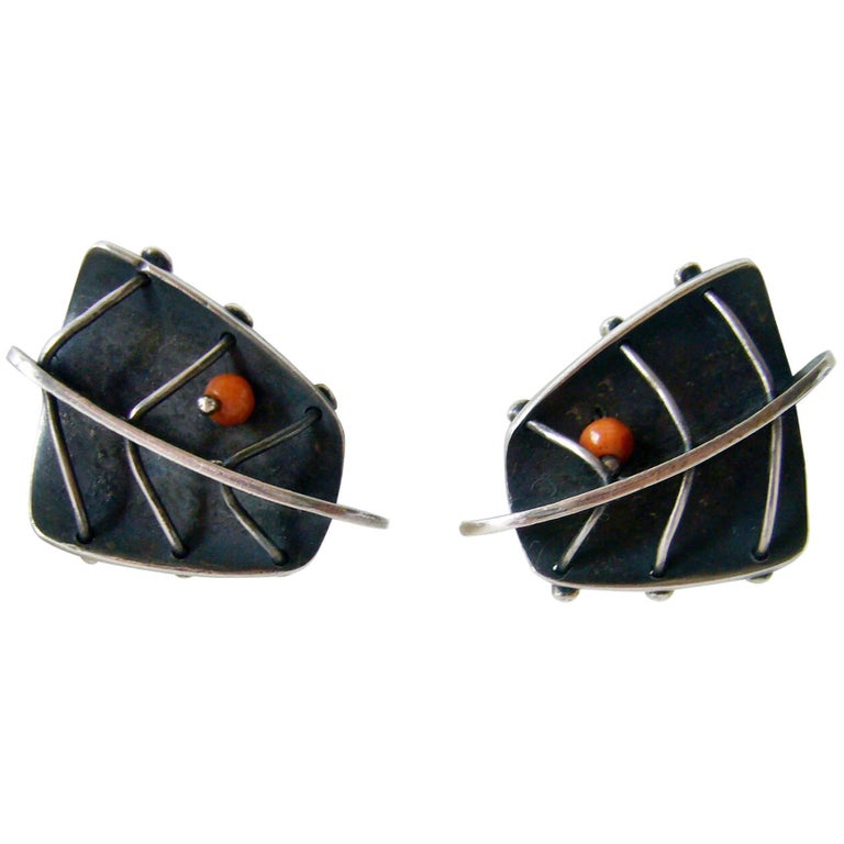 Ed Wiener Coral Sterling Silver Abstract American Modernist Earrings For Sale