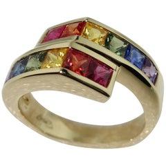 2.42 Carat Multi-Color Sapphire Ring