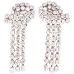 29.79 Carat Diamond Chandelier Platinum Earrings