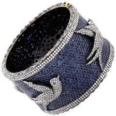 Blue Sapphire and Diamond Cuff Bangle
