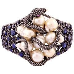 Pearl Sapphire Snake Cuff