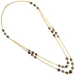 Rough Diamond Necklace in 18 Karat Yellow Gold